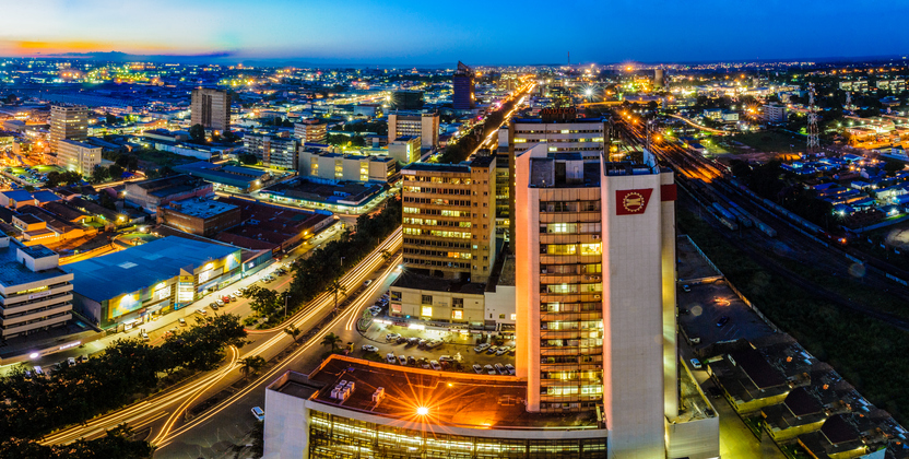 Skyline photo of Lusaka city at night